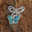 SOP1042 2 Opal CZ Butterfly Pendant