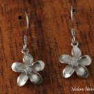 SE58908 15mm Plumeria with three CZ inlaid Rhodium Finish Hook Earring