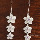 3-Plumeria with Purple CZ Earrings
