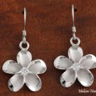 SE53858 18mm Hawaiian Plumeria Solid Silver Hook Earring Rhodium Finished