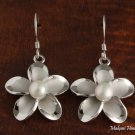Hawaiian Plumeria white pearl Hook Hawaiian Silver Earring Jewelry PE10001