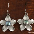 Hawaiian Plumeria Dark Blue pearl Hook Silver Earring  20mm PE10004