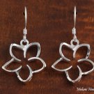 SE27911 Hawaiian Jewelry Solid Silver 18mm Floating Plumeria Hook Earring