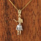 GP3124 Two Tone(WG/YG) Hula Girl Pendant(S)(Chain Sold Separately)