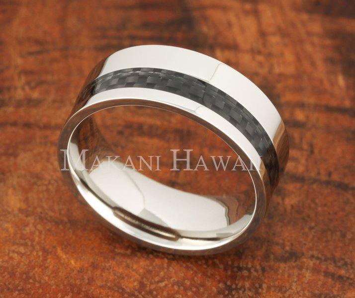 8mm Carbon Fiber Stainless Steel Wedding Ring Flat OFF Set SLR6011