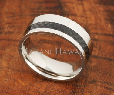 8mm Carbon Fiber Stainless Steel Wedding Ring Flat OFF Set SLR6011