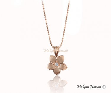 GP4014 12mm 14K Solid Pink Gold Plumeria Pendant Clear CZ(Chain Sold Separately)