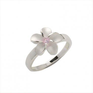 Hawaiian Sterling Silver Jewelry Single Plumeria Pink CZ Ring 12mm SR2032