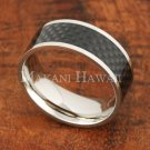 8mm Carbon Fiber Stainless Steel Mens Ring Flat SLR6001