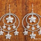 SE55301 Rhodium Double Circle Hook 7 Plumeria Earring