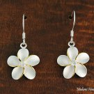 SE12405 18mm Plumeria CZ Hook Earrings Two Tone
