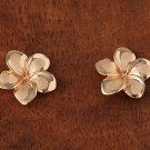 GE2135 Pink Gold Plumeria Post Earring 13mm