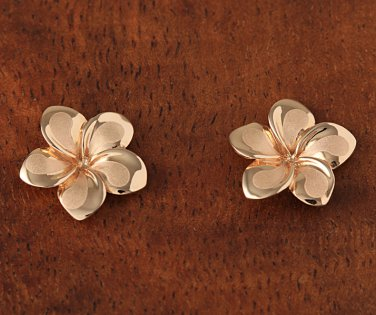 GE2135 Pink Gold Plumeria Post Earring 13mm