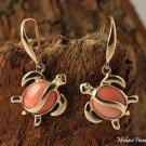 Yellow Gold Pink & Coral Honu (Sea-Turtle) Hook Earrings GE2102