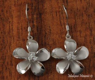 Plumeria with three CZ inlaid Rhodium Hook Earrings