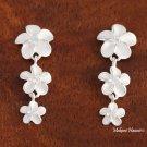 3 White Plumeria with CZ Post Earrings
