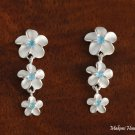 3-Plumeria with Blue CZ Earrings