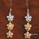 Tri-Color Plumeria CZ Hook Earring