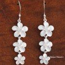 3 White Plumeria Hook Earrings