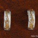 Two-Tone Scroll Engraved Half Moon Earrings