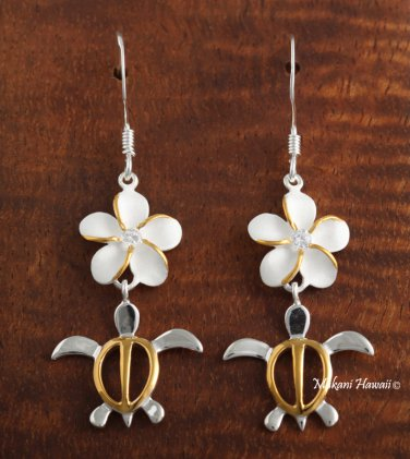 12mm Two-Tone Honu-Plumeria Hook Earring