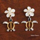 Hawaiian Plumeria-Honu Two-Tone Earrings