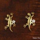 Two-Tone Gecko Plumeria Earrings
