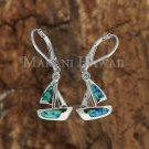 Hawaiian Blue Opal Boat and Silver Leverback Earrings