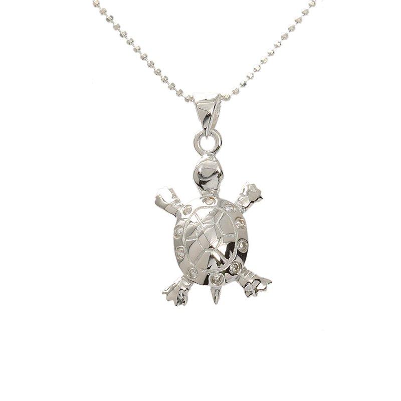 Hawaiian Jewelry Small Silver Turtle Necklace