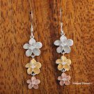3 Plumeria Tri-Color Hook Earrings