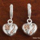 Two-toned Solid Wire w/Heart Scrolling Earring