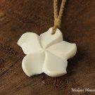 Cow Bone Hand Carved Hawaiian Plumeria Pendant Necklace KOA1135