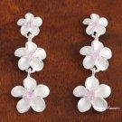 Tri-Plumeria w/ Pink CZ Earrings