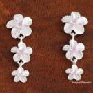 Tri-Plumeria w/ Pink CZ Earrings