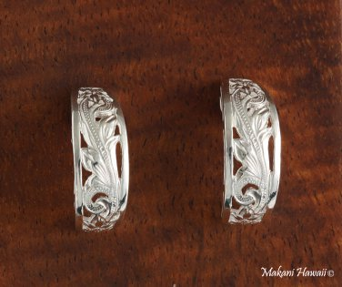 Hand Engraved See-through Half Moon Scroll Earrings