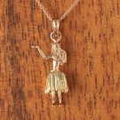 14K Two-Tone Gold Hula Girl Pendant