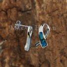 Sterling Silver Opal CZ Ribbon Earrings