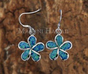 Hawaiian Plumeria Sterling Silver Opal Hook Earrings