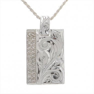 ESP2935 Scroll Clear CZ Pair Plate Pendant-M