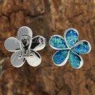22mm Hawaiian Plumeria Sterling Silver Opal French Clip Earrings