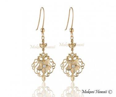 14K Yellow Gold Plumeria Hook Earrings