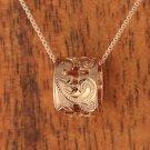 14K Pink Gold Four Hollow Crosses Scroll Engraving Barrel Pendant