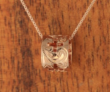 14K Pink Gold Four Hollow Crosses Scroll Engraving Barrel Pendant