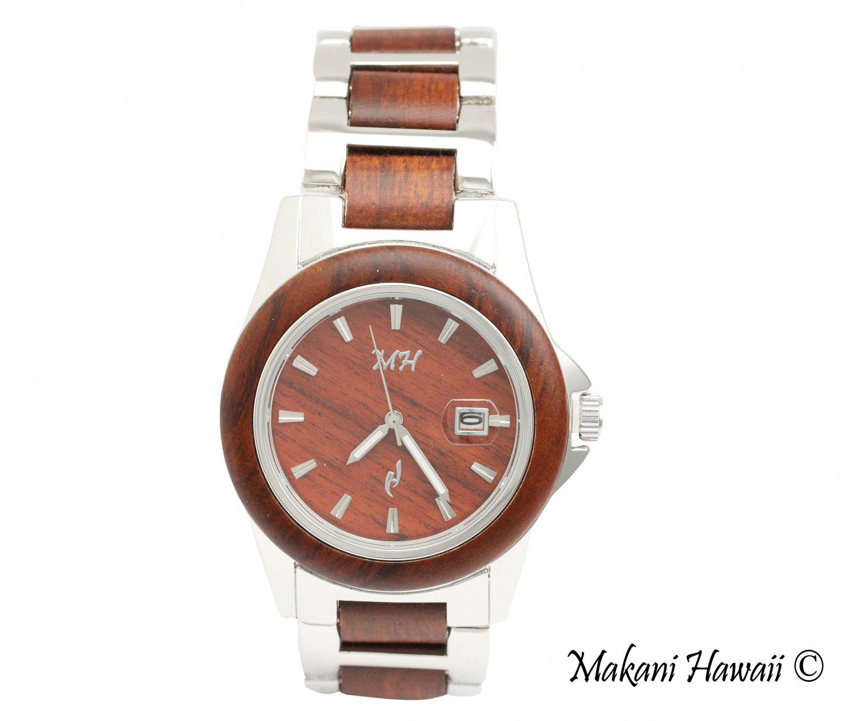 Makani Hawaii Men's Natural Rose Wood Silver-Tone Classic Dial Watch