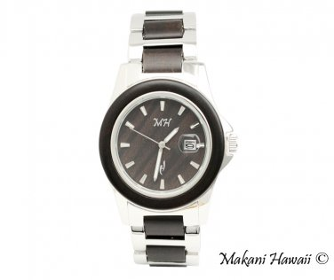 Makani Hawaii Men's Chocolate Sandalwood Silver-Tone Classic Dial Watch