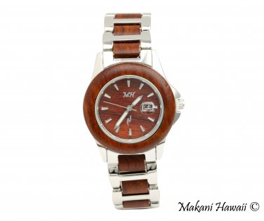 Makani Hawaii Women's Natural Rose Wood Silver-Tone Classic Dial Watch