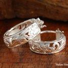Sterling Silver Hawaiian See Through Scroll Hoop Earrings (S) SE39701