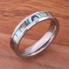 Tungsten Carbide Abalone Shell Wedding Ring Beveled Edge 6mm TUR1017