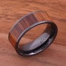 Natural Koa Wood High-tech Black Ceramic Wedding Ring Flat 8mm TUR4007