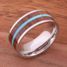 Natural Hawaiian Koa Wood and Turquoise Inlaid Stainless Steel Flat 8mm SLR6307